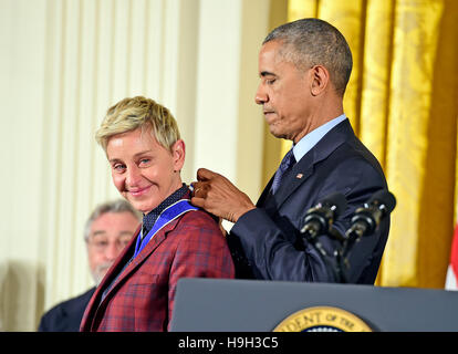 United States President Barack Obama presents the Presidential Medal of Freedom to comedian Ellen DeGeneres during - Stock Image