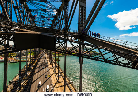 People climbing to the top of the Sydney Harbour Bridge, BridgeClimb Sydney, Sydney, New South Wales, Australia - Stock Image