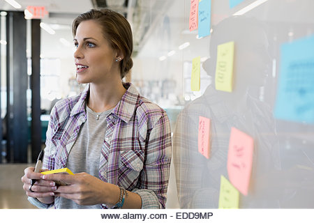 Businesswoman writing adhesive notes on whiteboard - Stock Image