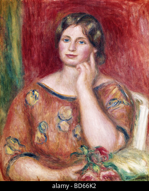 fine arts, Renoir, Auguste (1841 - 1919), painting, 'Portrait of Madame Osthaus', 1913, Museum Folkwang, - Stock Image