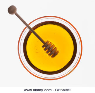 Honey dipper in bowl of honey - Stock Image
