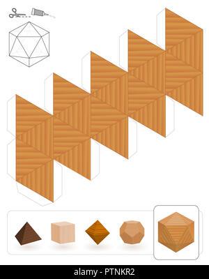 Solides platoniques. Modèle d'un icosaèdre à trois textures pour créer un modèle en papier 3d à partir de la grille du triangle. - image d'archive
