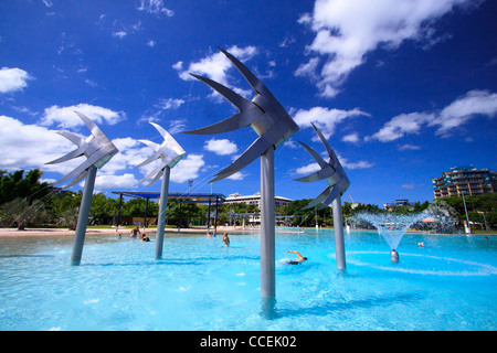 The giant fish statues are a well-known feature of the Cairns Esplanade Lagoon. Far north Queensland, Australia. - Stock Image