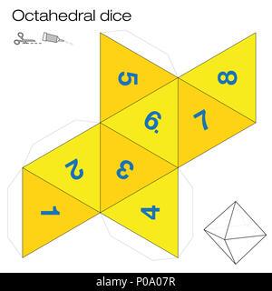Le modèle octaèdre, cube octaédique - l'un des cinq solides platoniques - crée un objet 3D avec huit côtés hors du filet et joue aux dés. - image d'archive