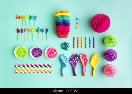 Overhead view of birthday party object collection - Stock Image