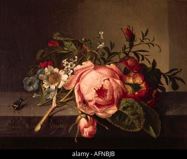 'fine arts, Ruysch, Rachel, (1664 - 12.8.1750), painting, 'Rosenzweig mit Käfer und Biene', Öffentliche Kunstsammlung, Basel, - Stock Image