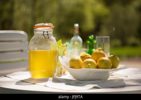 Limoncello fait maison et citrons dans l'assiette de fruits - Image