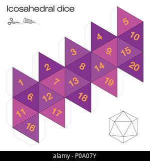 Le modèle d'icosaèdre, les dés icosaédriques - l'un des cinq solides platoniques - crée un élément 3D avec vingt pages du réseau et joue aux dés. - image d'archive