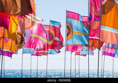 WOMAD music festival 2015 on beach at Gran Tarajal, Fuerteventura, Canary Islands, Spain. - Stock Image