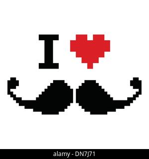 I love mustache pixelated, retro geeky sign - Stock Image