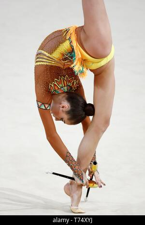 Guadalajara, Spain. 04th May, 2019. Yeva Meleschvk from Ukraine competes during the FIG World Challenge Cup Rhythmic Gymnastics in Guadalajara, 04 May 2019, running from 03 until 5 May. Credit: Javier Lopez Hernandez/EFE/Alamy Live News - Stock Image