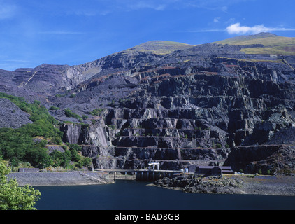 Electric Mountain Dinorwig Power Station and Llyn Peris with disused slate workings Llanberis Gwynedd North Wales - Stock Image