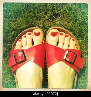 Painted toes in sandals on grass - Stock Image
