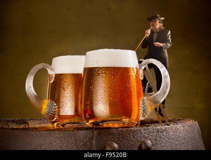 image humoristique avec buveur et deux bières - Image