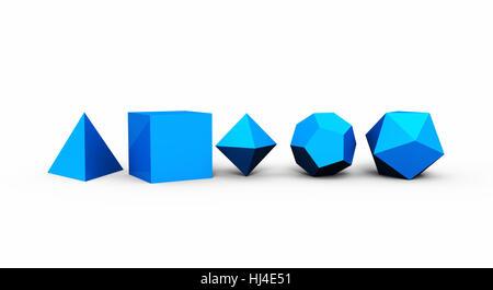 Géométrie sacrée des solides platoniques 3D - bleu - Image