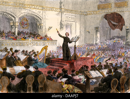 Franz Liszt conducting his new Oratorio at Budapest, Hungary, 1860s. Hand-colored woodcut - Stock Image