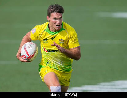 Las Vegas, NV, USA. 4th Mar, 2017. Ed Jenkins #9 of Australia runs in for a score during Pool D play of the rugby - Stock Image