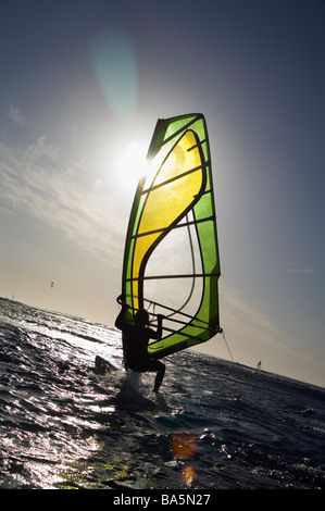 Windsurfer in action at Surfer's Point, known locally as Margaret's.  Margaret River, Western Australia, - Stock Image