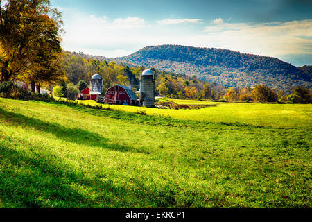 Low Angle View of a Classic American Farm During Fall, Arlington, Vermont - Stock Image