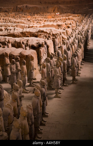 Profile shot from left of standing soldiers Pit 1 Terracotta Army Xi'an China JMH2037 - Stock Image