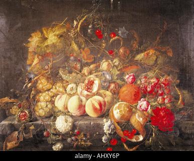 'fine arts, Heem, Jan Davidsz de, (1606 - 1684), painting, 'still life', oil on panel, 55,8 cm x 73,5 - Stock Image