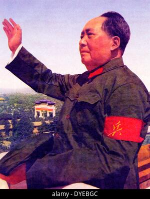 Mao Ze Dung 1893-1976. Chinese Communist Party leader and Chinese leader 1949-1976 reviewing red guards circa 1965 - Stock Image