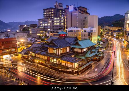 Matsuyama, Japan downtown skyline at Dogo Onsen bath house. - Stock Image