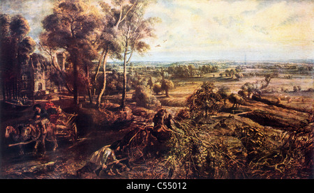Landscape, Autumn, with a View of the Chateau de Steen; Painting by Sir Peter Paul Rubens, Late Flemish School; - Stock Image