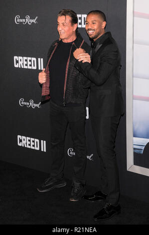 NEW YORK, NY - NOVEMBER 14: Sylvester Stallone and Michael B. Jordan attend 'Creed II' World Premiere at AMC Loews Lincoln Square on November 14, 2018 - Stock Image
