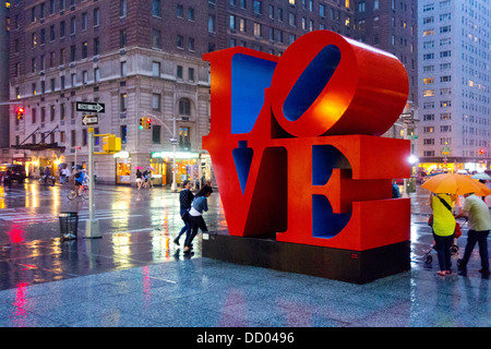 Love sculpture by Robert Indiana in NYC - Stock Image