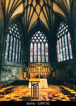 Stained glass chapel at Wells Cathedral - Stock Image