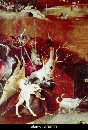 'fine arts, Bosch, Hieronymus, (circa 1450 - 1516), painting, 'the temptation of Saint Anthony', central panel, detail, 1505 - - Stock Image