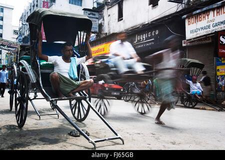 rickshaw drivers, India, Kalkutta - Stock Image