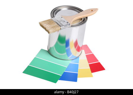 Paintbrush paint can and color swatches cut out isolated on white background - Stock Image