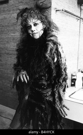 Elaine Paige Actress Singer in the costume she wears for the Musical Cats in her dressing room June 1981 Dbase MSI - Stock Image