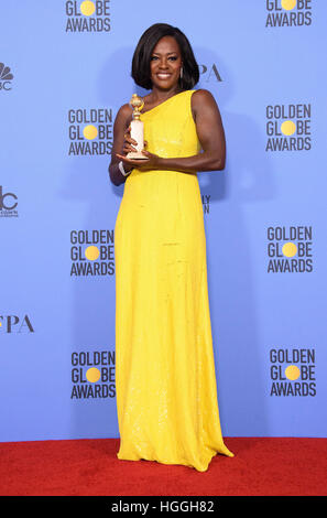 Beverly Hills, CA, USA. 8th Jan, 2017. Viola Davis. 74th Annual Golden Globes Awards held at the Beverly Hilton - Stock Image