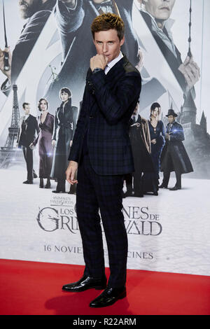Pozuelo De Alarcon, Madrid, Spain. 15th Nov, 2018. Eddie Redmayne attends to Fantastic Beasts: The Crimes of Grindelwald film premiere during the Madrid Premiere Week at Kinepolis in Pozuelo de Alarcon. Credit: Legan P. Mace/SOPA Images/ZUMA Wire/Alamy Live News - Stock Image