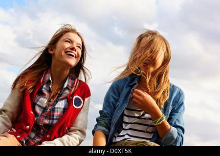 Happy teenage girls - Stock Image