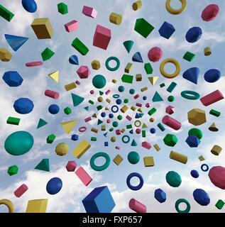 Illustration de diverses formes géométriques avec fond du ciel. - image d'archive