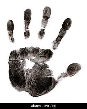 mans hand print - Stock Image