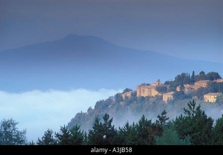 Mount Amiata and village Tuscany Italy - Stock Image