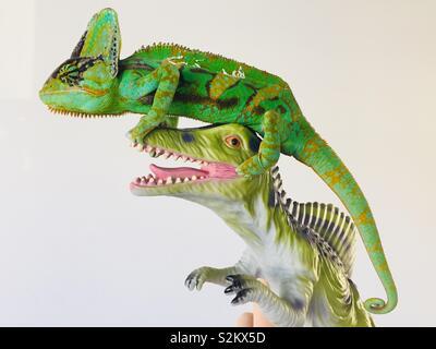 Chameleon & Dinosaur - Stock Image