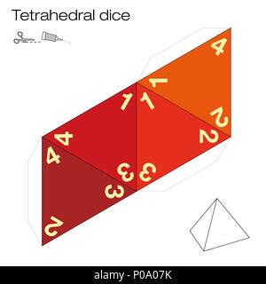 Le modèle tétraèdre, les dés tétraédriques à quatre faces - l'un des cinq solides platoniques - crée un objet 3D sur le Web et joue aux dés. Illustration o - image d'archive