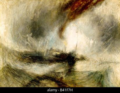 fine arts, Turner, Joseph Mallord William (1775 - 1851), painting 'Snow Storm', 1842, oil on canvas, Tate - Stock Image