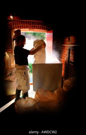 Orge malté est versé dans la trémie et vers le bas dans le mash tun, une partie du processus de fabrication de la bière à la brasserie 1648 - Image
