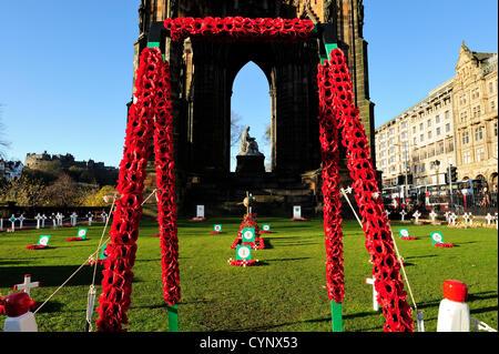 8 Nov 2012, Edinburgh, Scotland - Garden of Remembrance beside the Scott Monument in Princes Street Gardens marking - Stock Image