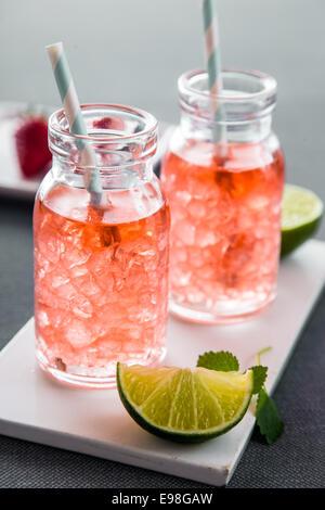 Boissons d'été fruité avec des glaçons dans des bouteilles modernes, avec des limes fraîches pour les concepts ensoleillés - Image