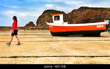 Hope Cove, Devon. 18th May 2019. UK Weather: Taking a boat for a walk at low tide, Hope Cove, Devon. Raich Keene enjoys a calm stroll on the beach. Credit: nidpor/StockimoNews/Alamy Live News - Stock Image