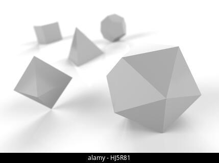 Solides platoniques en 3d - argent précieux - Image
