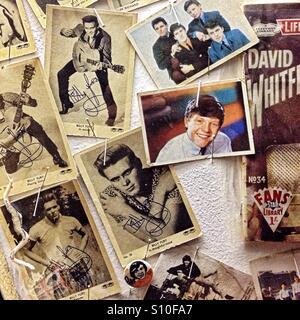Wall of 1950s pop pin-ups - Stock Image